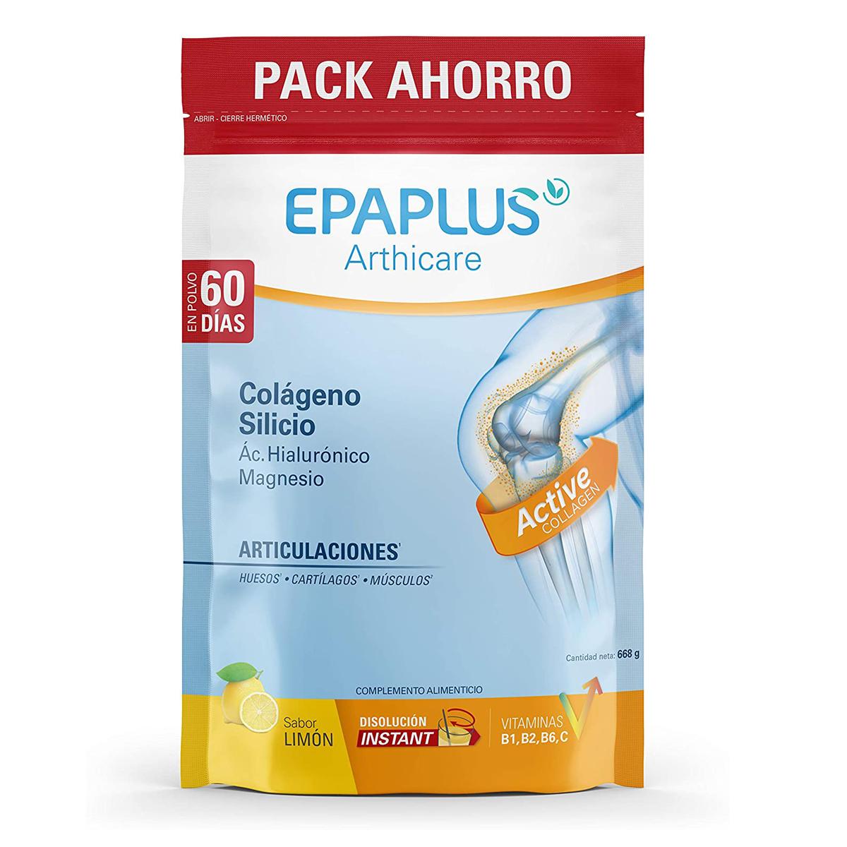 Epaplus Articulaciones Colágeno + Silicio + Ácido Hialurónico (668gr, sabor limón)